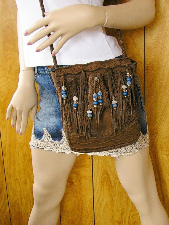 FREE SHIPPING - Medium Brown pig skin leather purse with beaded fringe
