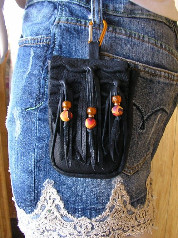 FREE SHIPPING -Black fringe Cell phone bag with clip and belt loop and Sunset clay beads
