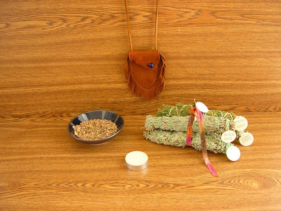 FREE SHIPPING - Smudging Kit, includes a Blue stoneware smudge bowl,  four smudge bundles, Granite sand, a Medicine Bag and a candle (SB2)