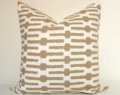 Set of Two - Decorative Pillow Covers - Taupe - Links - On Both Sides - 17x17 inches - Sofa Pillows - Accent Pillows - Throw Pillows