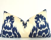 Duralee, Blue Ikat, Blue Pillow, Handmade Pillow, Made in USA, Pillow Cover, Throw Pillow, Lumbar Pillow, Decorative Pillow, 14x22 inch