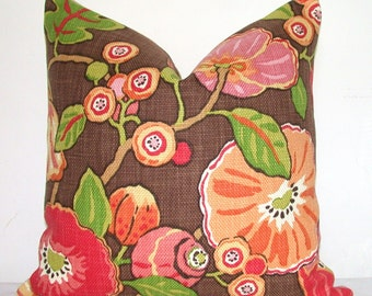 Pillow Cover, Decorative Pillow, Throw Pillow, Sofa Pillow, Toss Pillow, P Kaufmann, Orange Floral, Green Leaf, Home Furnishing, Home Decor