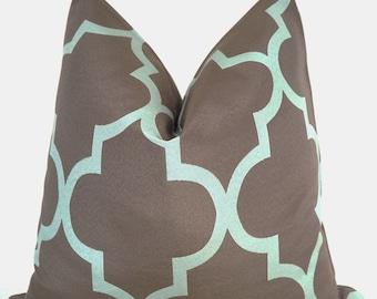 Pillow Cover, Decorative Pillow, Toss Pillow, Sofa Pillow, Throw Pillow, Brown Frework, Aqua Lattice, Home Furnishing, Home Decor