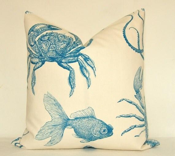 Beautiful Decorative Pillow - Sea Creatures - Aqua - Blue - 20x20 in - Nautical - Throw Pillow - Toss Pillow - Accent Pillow