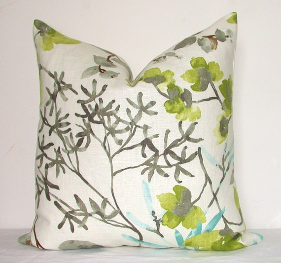 Pillow Cover, Decorative Pillow, Throw Pillow, Toss Pillow, Accent Pillow, Gray, Green Floral, 17x17 inch, Home Furnishing, Home Decor