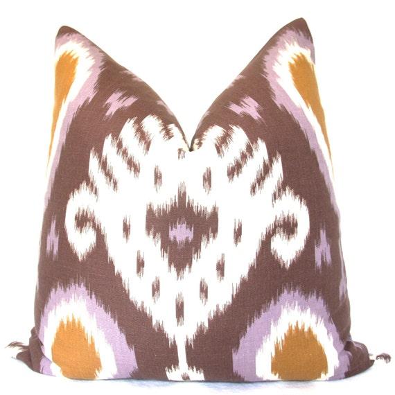 Purple Pillow, Purple Ikat, Handmade Pillow, Decorative Pillow, Throw Pillow, Toss Pillow, Mauve Ikat, Brown Ikat, Home Decor, Made in USA