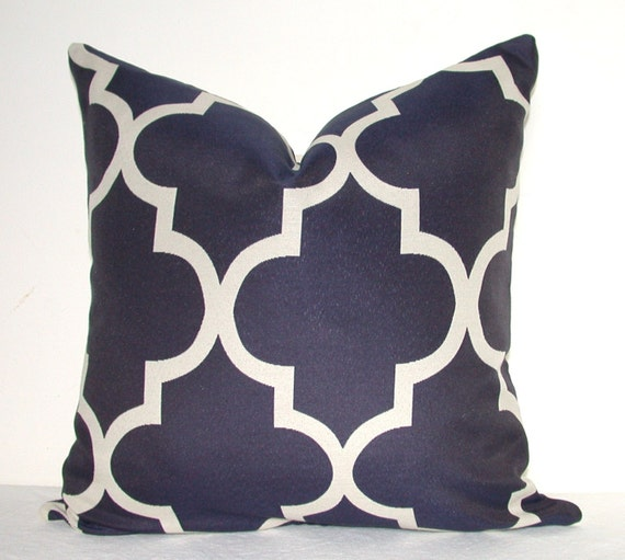 Pillow Cover - Decorative Pillow - Throw Pillow - Sofa Pillow - Geometric - Navy -On  BOTH SIDES  - 19x19 in - Lattice - Trellis