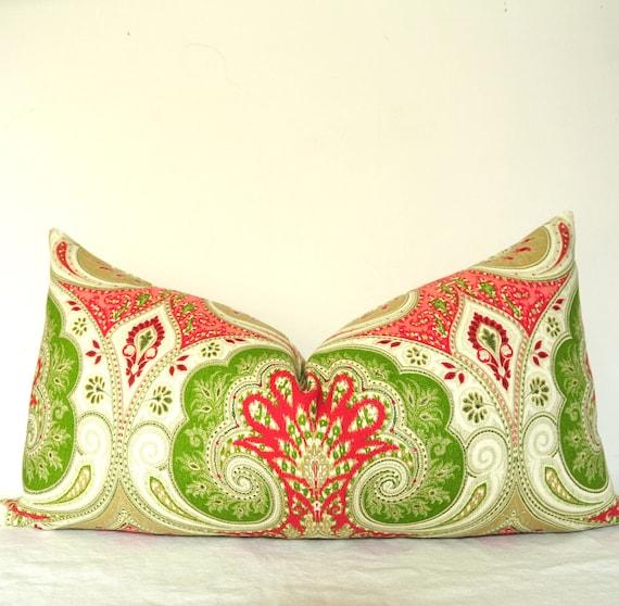 On BOTH SIDES - Pillow Cover - Decorative Pillow - Lumbar Pillow - Throw Pillow - Kravet  - Linen - 12x26 in - Red - Pink - Green