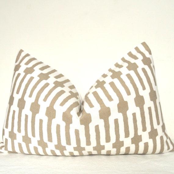 Pillow Cover, Decorative Pillow, Throw Pillow, Toss Pillow, Sofa Pillow, Annie Selke, Taupe Links, 12x20 inch, Lumbar Pillow, Home Decor
