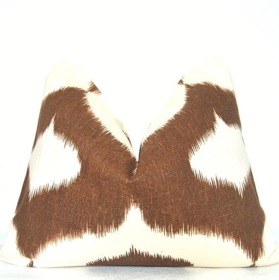 Pillow Cover - Deocrative Pillow - Throw Pillow - Toss Pillow - Lumbar Pillow - Ikat Print - Brown - Ivory - 16x20 in