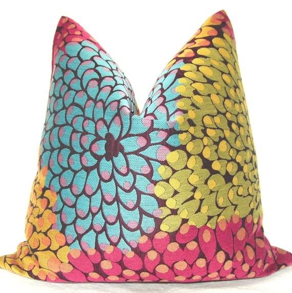Set of Two, Throw Pillow, Decorative Pillow, Toss Pillow, Sofa Pillow, Chrysanthemum, Jacquard, Chartreuse, Aqua,Yellow, Fuchsia