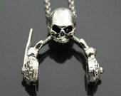 VDR001 - Skull Headphone Music Skeleton Pendant Necklace