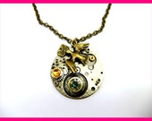 Steampunk Necklace I CAN'T HIDE My HEART Vintage Pendant Dove Peace Bird Pigeon