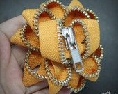Zipper Brooch - Golden Yellow with Silver Teeth