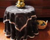 1/12 Scale (Dollhouse) Black and Silver Double Cloth Covered Table with Swirls and Stars - Indoor Fairy Garden
