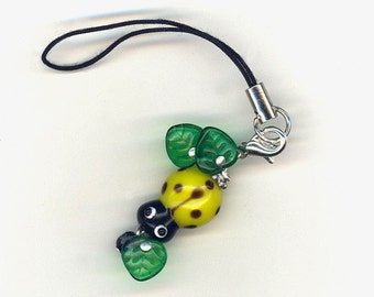Chartreuse Lady Bug and Leaves Cell Phone Charm or Zipper Pull
