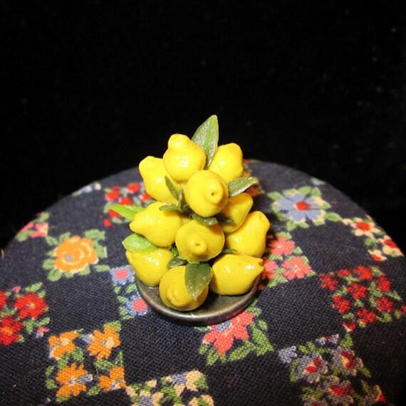 1/12 Scale (Dollhouse) Yellow Lemon Fruit Pyramid Holiday Centerpiece - Indoor Fairy Garden
