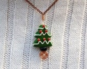 Christmas Tree Lampwork Green White Red Swarovski Crystal Copper Necklace