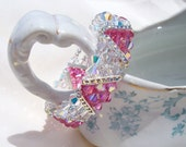 Bracelet Swarovski Crystal Pink and Crystal 3 Strand Triangle