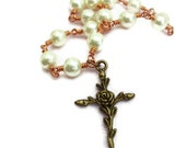 Rose Cross White Copper Necklace