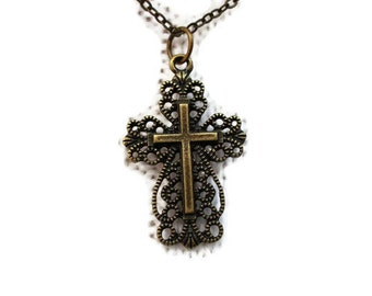 Antiqued Brass Lacy Cross