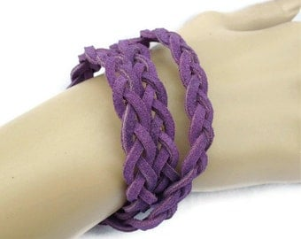 Bracelet Triple Wrap Purple Suede