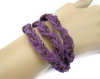 Wrap Bracelet Purple Suede Lace Antique Brass Chain