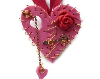 Necklace Broken Heart Magenta Red Rose Key Ribbon