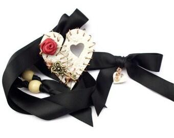 Necklace Broken Heart Remembrance Casket Token Bereavement Red Pink
