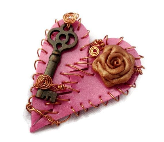 Necklace Broken Heart Magenta Polymer Clay Copper Rose Key