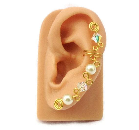 Ear Cuff Gold Swarovski Crystal Pearls
