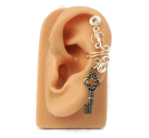 Ear Cuff Silver Key