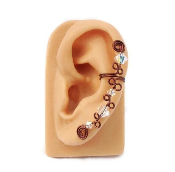 Ear Cuff Wine Swarovski Crystal