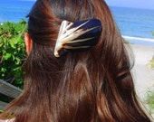 Black and gold shell barrette
