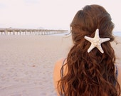 Large White Knobby Starfish Hair Barrette.