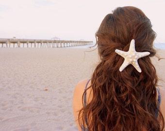 Large White Knobby Starfish Hair Barrette.