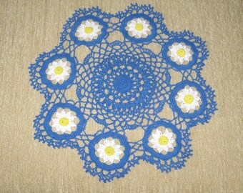 15 Inch Round BLUE DAISY Flowers Flower Doily Crocheted CROCHET New Handmade Daisies Topper