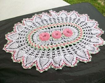 Crocheted Pink Roses Pineapple Runner Crochet Doily Handmade Flower Home Decor