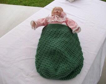 Sage Green Crocheted Baby Cocoon Papoose Newborn Preemie Doll Photo Prop New Crochet Handmade