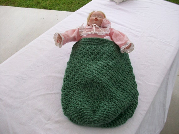 Free Crochet Pattern For Preemie Cocoon : Sage Green Crocheted Baby Cocoon Papoose Newborn Preemie Doll