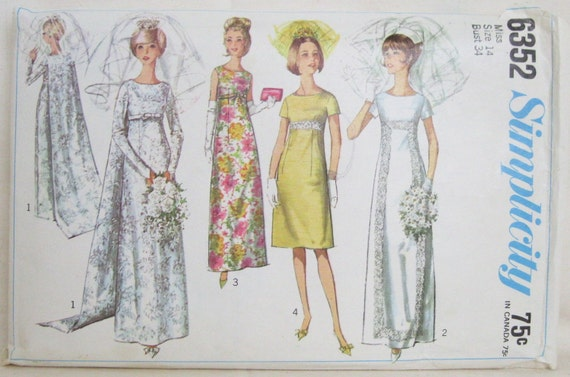 Vintage 1960s Simplicity Wedding Dress or Bridesmaid Pattern Size S