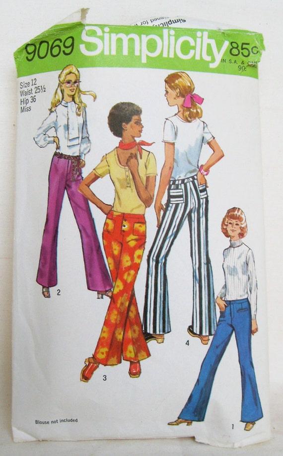 Vintage 1970s Hip Hugger Bell Bottom Pants Pattern Size S