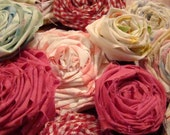 Recylced Bed Linens Ribbon Roses for Pins, Hairpieces / Rag Roses