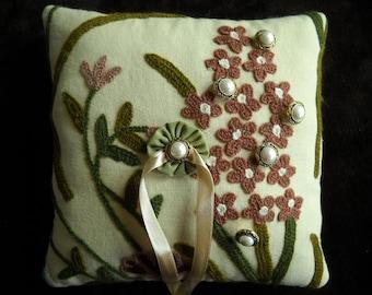 Ring Bearer Pillow- 8x8 square- Lee Jofa fabrics- crewel