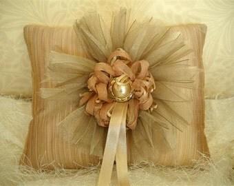 Romantic  Ring Bearer Pillow-- ref. bp31- rosy peach - shantung silk