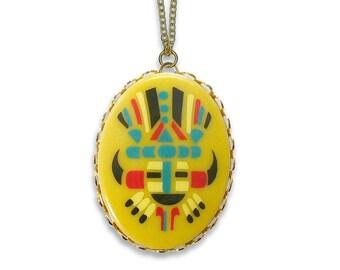 Vintage Big Chief Necklace Pendant Indian Boho Americana Jewelry