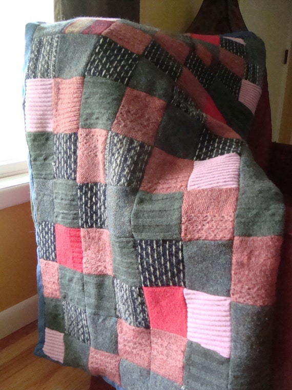 99percent Repurposed Wool Patchwork Blanket Handmade
