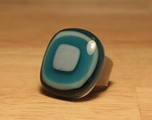 Fused Glass Ring - Sterling Silver Band