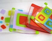 Colorful Dish Set, fused glass sushi plates, bright colors, modern decor, Party Favor, Cherry Ice, Lavender Ice, Party Poppers
