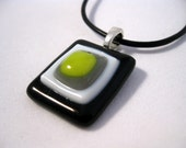 Yellow Jacket necklace, black white chartreuse fused glass pendant